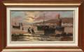 Quadro pescatori al  porto
