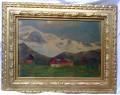 Quadro paesaggio alpino con chalez
